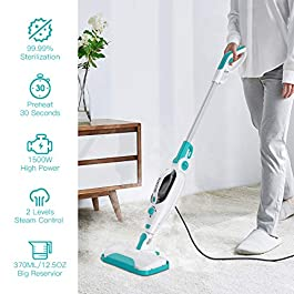 Dcenta Steam Mop Cleaner,12 in 1 Convenient Detachable Handheld Steam Cleaner for Hardwood, Tiles,Carpet with…