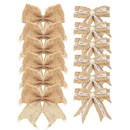 Aokbean Pack of 12 Wedding Decor Bows Christmas Tree Topper Bow Rustic Decor Burlap]()