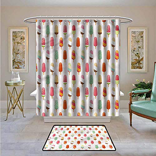 Kenneth Camilla01 Waterproof Fabric Shower Curtain Ice Cream,Various Flavors,Machine Washable - Shower Hooks are Included 94