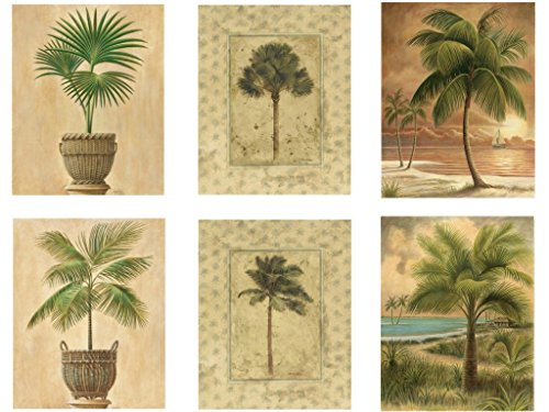 """Beach Palm Tree Vintage Posters - Set of Six 8"""" x 10"""" Wall Posters by Wallsthatspeak"""