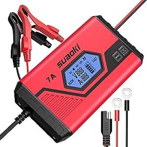 Suaoki - Cargador de Baterias Coche 7 Amp /12V, Mantenimiento Automático e Inteligente con Múltiples Protecciones, 9 Cargas Etapas Identificación Para Coche, Camión, Motocicleta