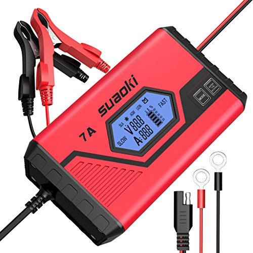 SUAOKI Smart Battery Charger/Portable Battery Maintainer Waterproof 12V 7A/3.5A Fully Automatic Trickle Charger for Car Truck Motorcycle Boat RV Lawn Mower SLA Wet MF GEL AGM 12V LiON Battery(ICS7+