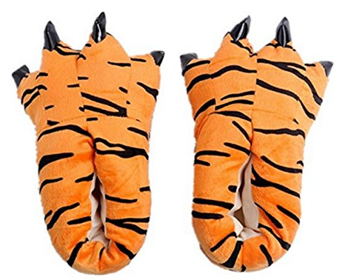 Mode Unisex Mjuk Plysch Hem Tofflor Djur Kostym Paw Klo Skor Tiger