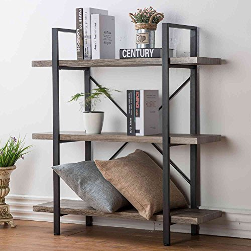HSH Furniture 3-Shelf Bookcase, Rustic Bookshelf, Vintage Industrial Metal Display and Storage Tower, Dark Oak -