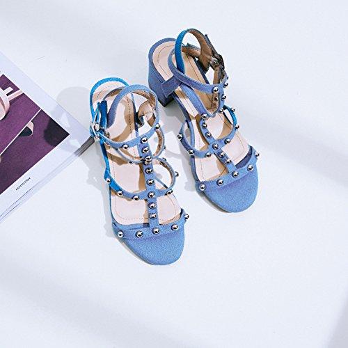 I Sandali, Una Nuova Estate Jeans, Rivetti, Pesante Tallone,Blue,Eu35Cn36,
