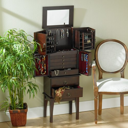 SEI Freestanding Cherry Jewelry Armoire