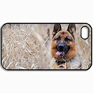 Customized Cellphone Case Back Cover For iPhone 4 4S, Protective Hardshell Case Personalized Dogs German Shepherd Dog In The Grass 26600 Black