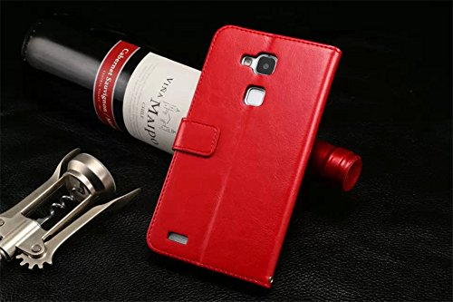 DAYJOY Elegant Side Slim Flip Flio Leather Protective Bumper Case Cover Shell with card slot and kickstand function + 1PC Tempered Glass Screen Protector Film for HUAWEI ASCEND MATE7 (RED)