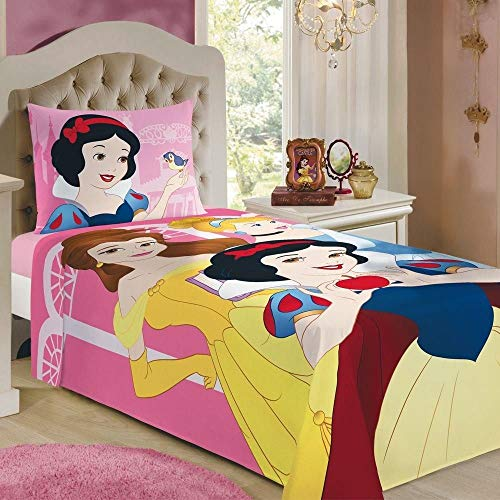 Jogo de Cama Lepper Princesas Rosa 1.5x2.1 m Pacote de 1 Algodão Tradicional