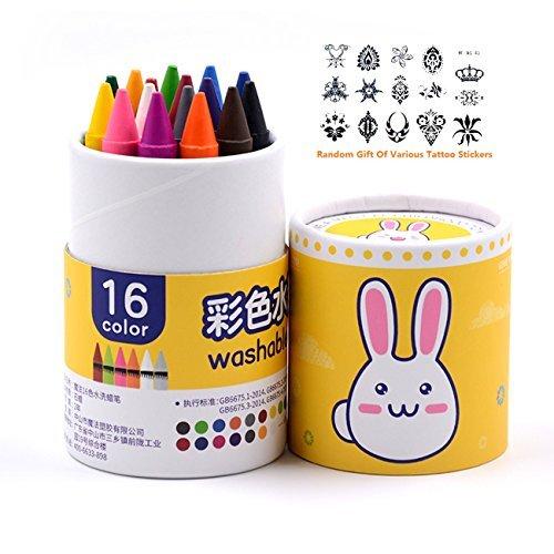 Mofa 16個パックNon Toxic Crayons  Easy to Hold幼児用Largeクレヨン、子供のおもちゃに安全 イエロー LB16