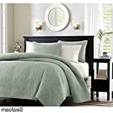 3 Piece 104 x 94 Extra Wide Seafoam Green Quilted Coverlet King Set, Oversized Bedding French Country Classic Stitched Lightweight Summer Seafoam Drops Over Edge of Mattress, Microfiber Polyester