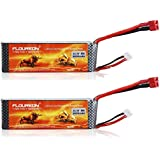 Floureon 2 Packs 3S 11.1V 3000mAh 30C Lipo Battery with Dean-Style T Connector for RC Airplane Helicopter Car Truck Boat Drone and FPV