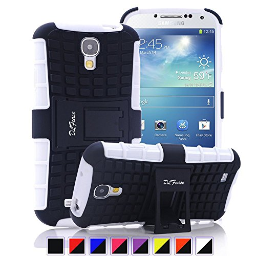 Galaxy S4 Case, [ Shockproof ] Samsung Galaxy S4 Case Heavy Duty Rugged Dual Layer TPU Textured Non Slip Reinforced Polycarbonate Hybrid Case for Samsung Galaxy S4 with Kickstand (White) (Samsung Galaxy S4 Case 2 Layer)