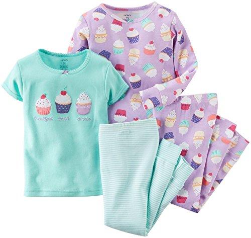 Carter's Baby Girls' 4 Piece Graphic Tee PJ Set (Baby) - Cupcake - 6M ()