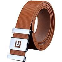 Mens belt! Charberry Men Women Smooth Buckle Leather Belt Waist Strap Belts Buckle Belt (Brown)