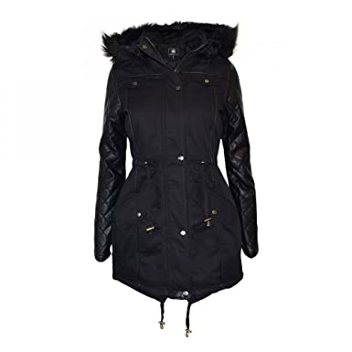 Brave Soul Olivia Womens Cotton Faux Fur Hooded Parka Jacket ...