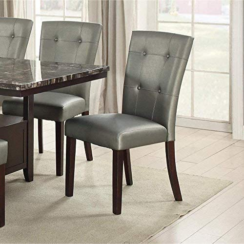 Set of 2 Silver Faux Leather Upholstered Dining Chair