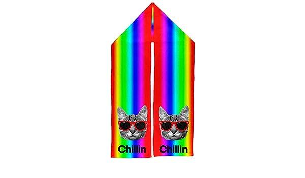 Chillin Cat Rainbow Warm Fleece Scarf