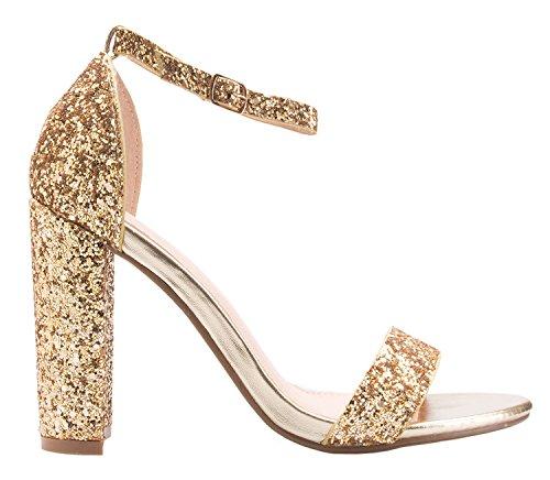 OLIVIA Heel Wedding Party Women's Strappy Gold Chunky Pump High Block K Glitter Classic Simple Formal cpYpqawr