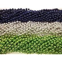 72 Seahawks Blue Silver Green Metallic Mardi Gras Beads Party Favors 6 Dozen by Party Supplies