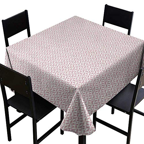 SKDSArts Square Tablecloth Pinwheel,Geometric Triangles in Soft Pinkish Shades Pastel Motif with Poly Effect, Dried Rose White,W36 x L36 Waterproof Table Cover for Kitchen