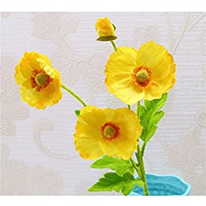 tutu.vivi Real Touch Silk Corn Poppies Decorative Silk Fake Artificial Poppy Flowers for Wedding Holiday Bridal Bouquet Home Party Decor Bridesmaid 5 PCS (Yellow) 10