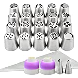 Russian Piping Tips, YIHONG Russian Cake Decorating Kit 44 Piece Cake Baking Supplies with Storage Box-20 Russian Icing Piping Nozzles Pastry Tips+ 2 Leaf Tips+20 Disposable Pastry Bags+2 Couplers