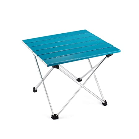 Outry Lightweight Aluminum Folding Table, Portable Camp Table, Outdoor Picnic Camping Backpacking Beach Patio Collapsible Foldable Table Blue, Small – Unfolded 15.6 x 13.8 x 12.6