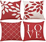 Decemter Red Geometric Throw Pillow Set Home Decor Cotton Linen Cushion Cover 18x18, Set of 4
