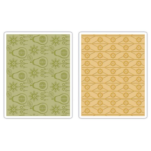 Sizzix 657256 Textured Impressions Embossing-Folder, 2-Folder Flowers and Pears Set by Basic Grey