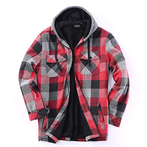 - 22 Color/Styles Tall & Warm Men's Full Zip Hooded Flannel & Sherpa Lined Long Sleeve Soft Fabric Warm Hoodie Jacket (L, M-Burg,Black)