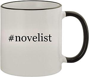 #novelist - 11oz Ceramic Colored Rim & Handle Coffee Mug, Black