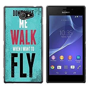 Dragon Case - FOR Sony Xperia M2 - i want to fly - Caja protectora de pl??stico duro de la cubierta Dise?¡Ào Slim Fit
