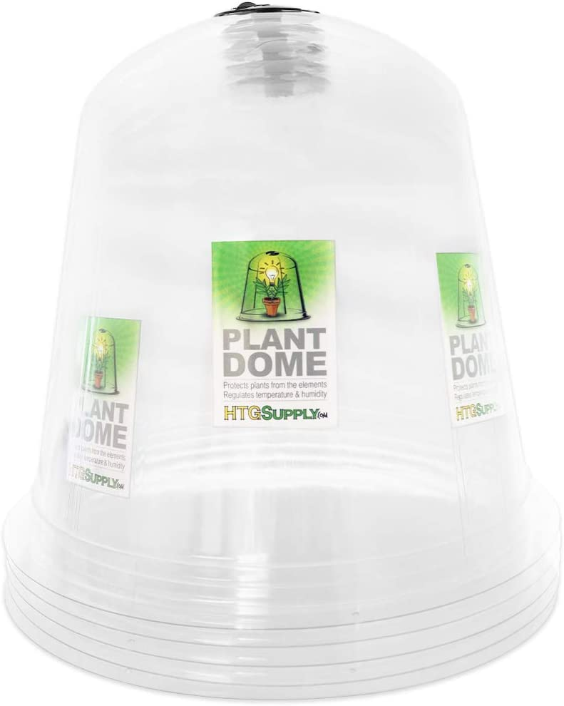 HTG Supply Garden Cloche Plant Protector Bell (5-Pack) - Reusable Vented Plastic Dome