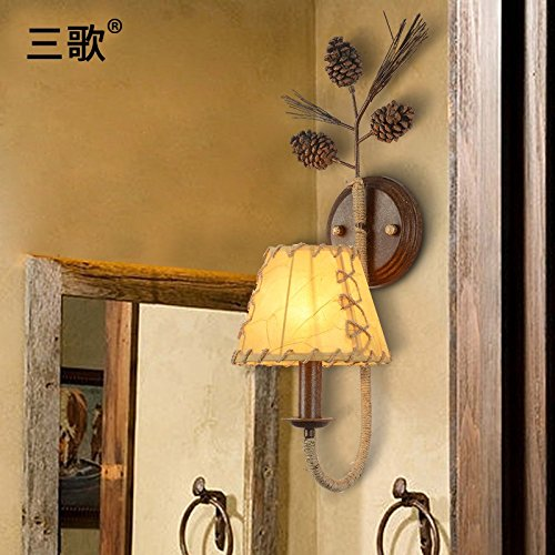 - QIMLIGHT Wall Sconce Wall Lamp Vintage Bedside Lamp Balcony Pinecone Wall Light Fixture for Bedroom Kitchen Restaurant Cafe Bar Living Room Warehouse