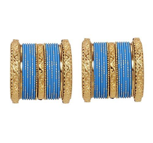 Ethnic Indian Bollywood Style Gold Tone Wedding Bangles Necklace Jewelry Set