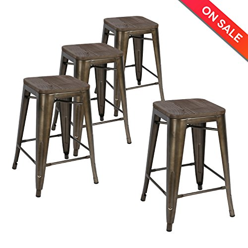 LCH 24 Inch Patio Metal Industrial Bar Stools, Set of 4 Indoor/Outdoor Counter Stackable Barstool with Wood Seat, 500 LB Limit, Antique Copper (Bar Set Indoor Furniture)