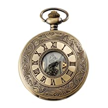 Mens Watches Top Brand Pocket Watch Mechanical Vintage Alloy Bronze Case