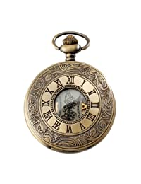 Mens Watches Top Brand Pocket Watch Mechanical Vintage Alloy Bronze Case