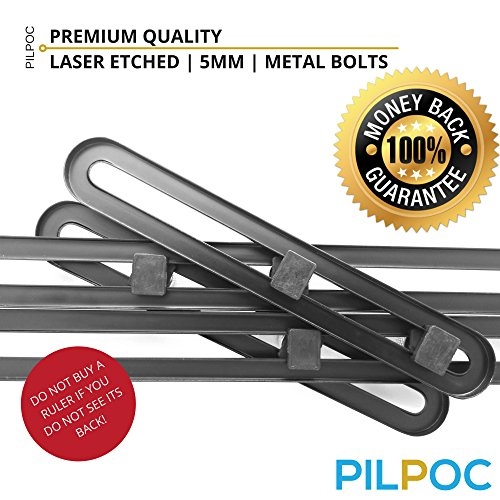 PILPOC Stainless Steel Multi Angle Measuring Ruler, Stainless Steel Black Unbreakable Thick Angle Ruler Template Tool, Laser Etched Markings, Carpenter Pencil, Cloth Case and Box by PILPOC (Image #4)