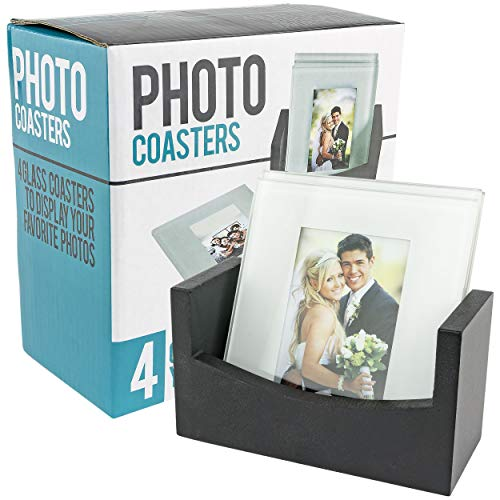 Southern Homewares Set of 4 Glass Photo Frame Coasters + Wood Storage Rack Tray - Memories -