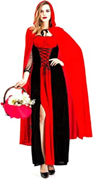 Fiyomet Disfraz de Halloween para Mujer Caperucita Roja Capa de ...