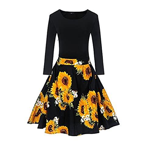 Lover-Beauty Women's Casual Flare Floral Contrast Long Sleeve Party Mini Dress (Large, Sunflower - Flare Mini Dress