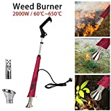 Environmental Protection Weed Burner,Supplied by Electricity - Barbecue Igniter Garden Tools with 2 Nozzles&1.8M Yarn,Optional Temperatures,up to 650°