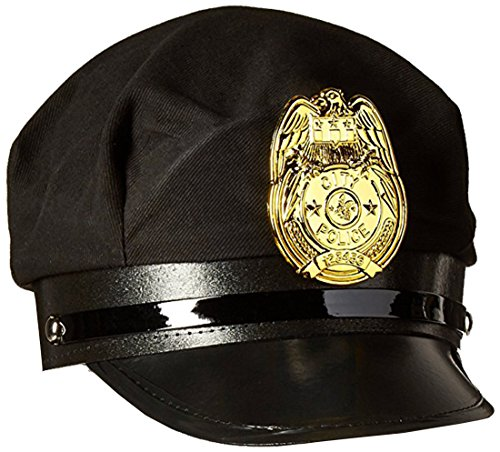 Jacobson Hat Company Men's Police Cap, Black, Adult -