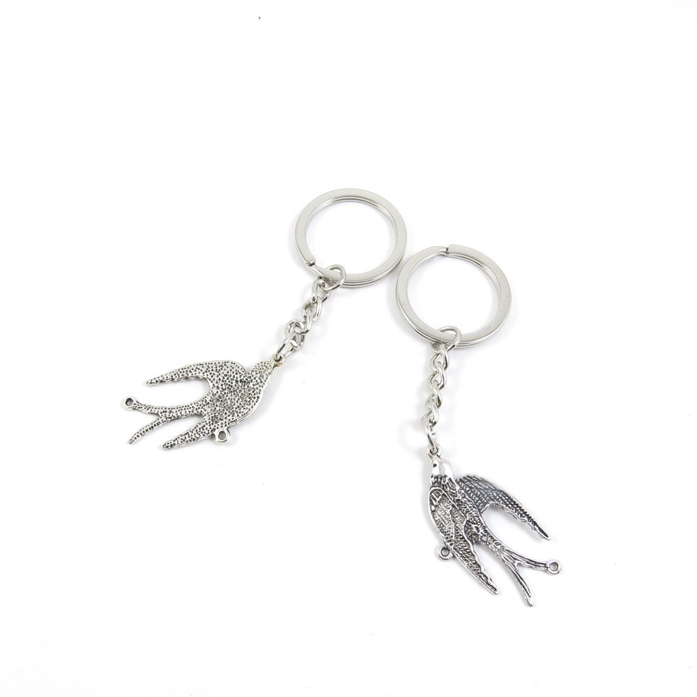100 Pieces Keychain Door Car Key Chain Tags Keyring Ring Chain Keychain Supplies Antique Silver Tone Wholesale Bulk Lots U4IT3 Swallows Connector