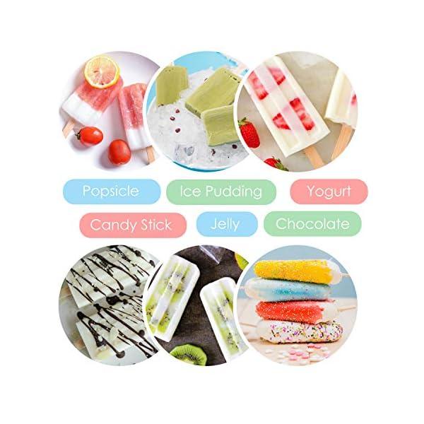 Nuovoware Stampo per Gelato, 10 Cavità Stampi Riutilizzabili in Silicone Senza BPA con Vassoio Produttori per Ghiaccioli… 6 spesavip