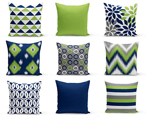 CELYCASY Throw Pillow Covers Green Navy White Decorative Pillow Covers Chevron Floral Ikat Geometric Cushion Covers Mix and Match (Decorative Pillows Chevron)