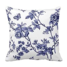 Pillow Perfect 20 X 20 Cotton Blue Floral Toile Throw Pillow Covers