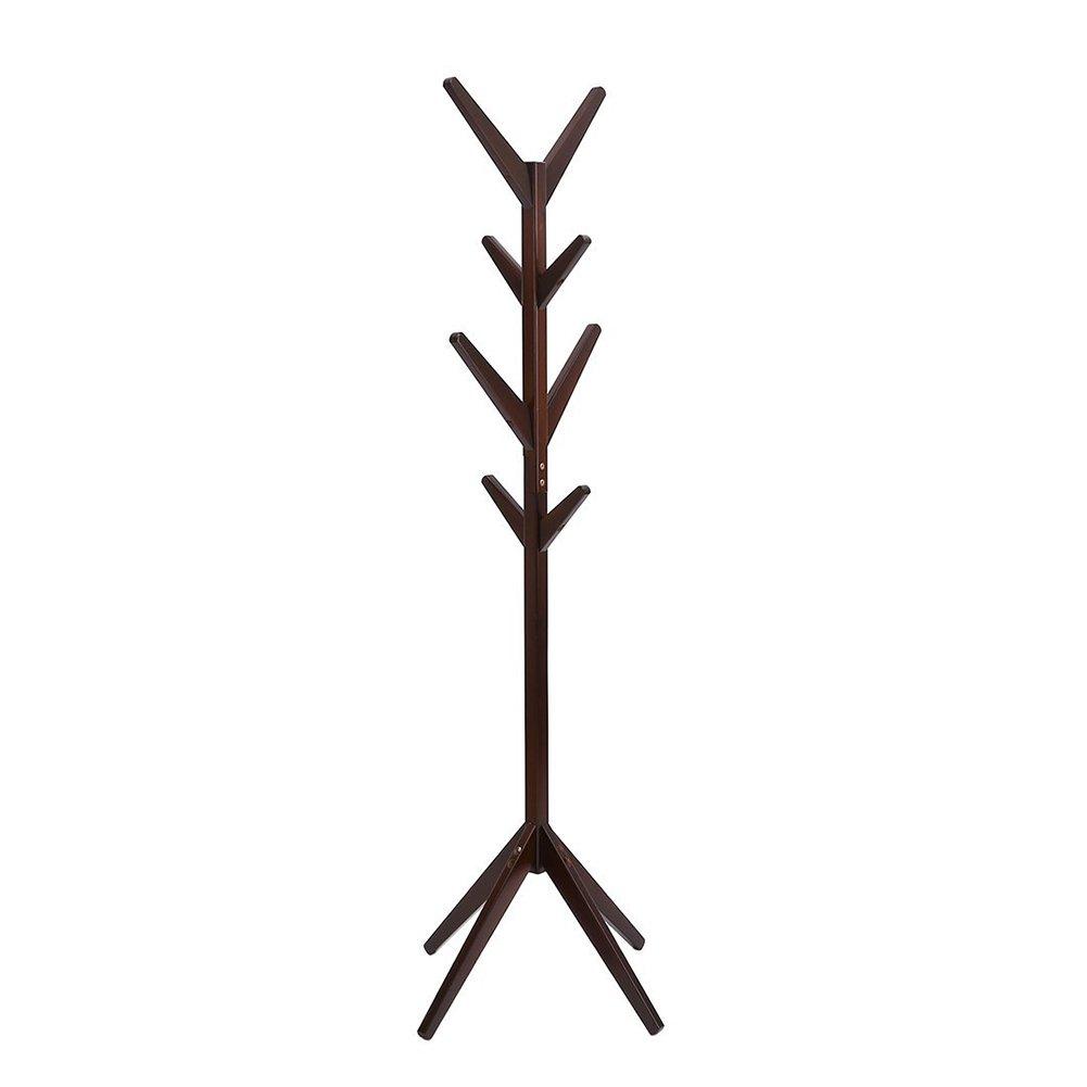 Solid Wood Coat Rack Entryway Hall Tree Coat Tree Rack for Coat Hat Purse Jacket 4 Layer 8 Hook (Coffee)